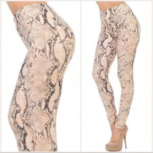 New Mix O/S Snake Print Leggings Peach/BLK/Whi